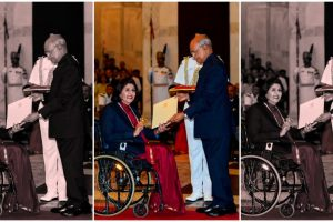 New Delhi: President Ram Nath Kovind confers Rajiv Gandhi Khel Ratna award upon Paralympic silver-medallist Deepa Malik, at Rashtrapati Bhawan in New Delhi, Thursday, Aug 29, 2019. Malik is the first Indian woman para-athlete and the oldest to be conferred the award even as training commitments kept co-awardee Bajrang Punia away from the ceremony. (PTI Photo/Kamal Singh) (PTI8_29_2019_000077B)