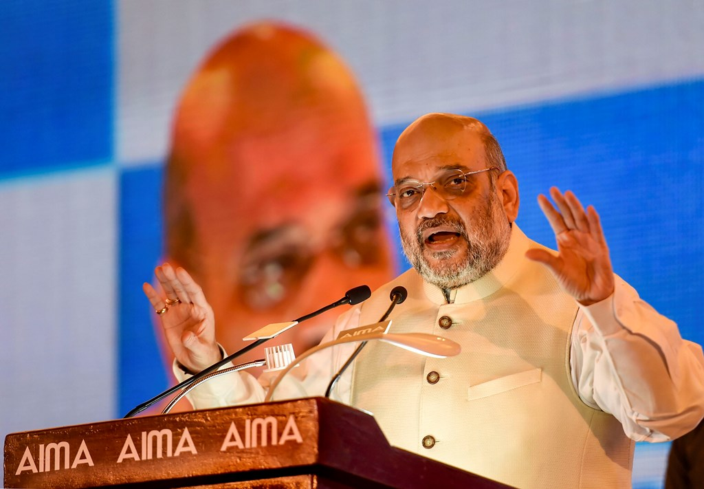New Delhi: Home Minister Amit Shah addresses during the 46th National Management Convention of the All India Management Association (AIMA), in New Delhi, Tuesday, Sept. 17, 2019. (PTI Photo/Kamal Singh)(PTI9_17_2019_000034B)