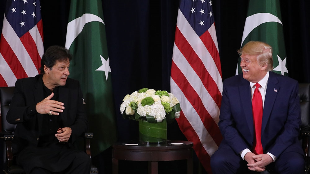 U.S. President Donald Trump greets Pakistan's Prime Minister Imran Khan during a bilateral meeting on the sidelines of the annual United Nations General Assembly in New York City, New York, U.S., September 23, 2019. REUTERS/Jonathan Ernst
