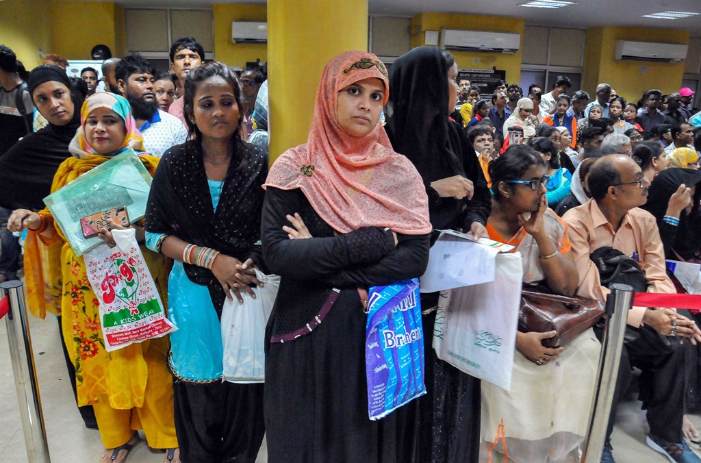 Kolkata: People wait for their turn for the rectification of birth and death certificate at Kolkata Municipal Corporation (KMC) headquarters, in Kolkata, Tuesday, Sept. 24, 2019. (PTI Photo)(PTI9_24_2019_000138B)
