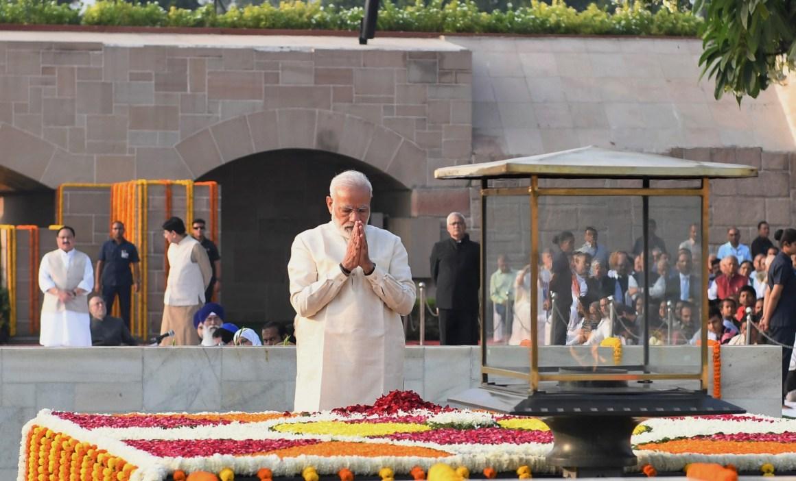 The Prime Minister, Shri Narendra Modi paying homage at the Samadhi of Mahatma Gandhi on his 150th birth anniversary, at Rajghat, in Delhi on October 02, 2019.