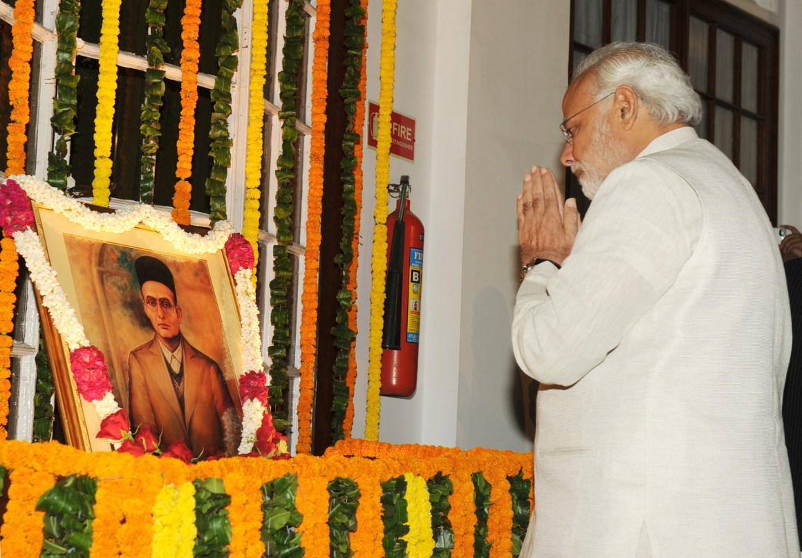 The Prime Minister, Shri Narendra Modi paying homage at the portrait of Swatantryaveer Vinayak Damodar Savarkar, on his birth anniversary, at Parliament House, in New Delhi on May 28, 2014.