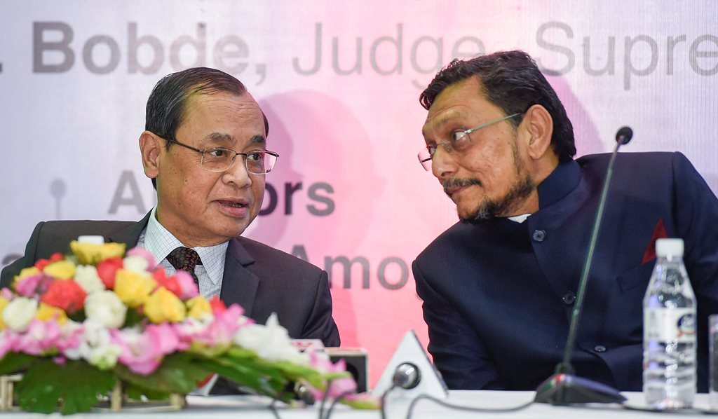 New Delhi: In this Friday, Nov. 30, 2018 file photo, Chief Justice of India Justice Ranjan Gogoi and Supreme Court of India Judge Justice SA Bobde in New Delhi. Gogoi on Friday, Oct. 18, 2019 wrote to the Centre recommending justice SA Bobde as his successor. As per tradition, the sitting CJI has to write and recommend his immediate successor.(PTI Photo/Kamal Singh) (PTI10_18_2019_000024)
