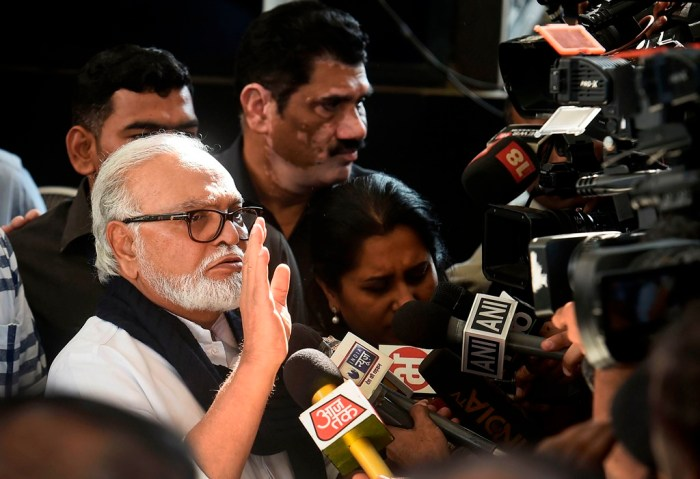 Mumbai: NCP leader Chaggan Bhujbal addresses the media as he leaves from Vidhan Bhawan in Mumbai, Monday, Nov. 25, 2019. (PTI Photo/Mitesh Bhuvad)(PTI11_25_2019_000137B)