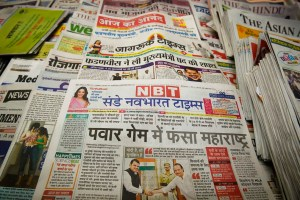 Mumbai: Copies of local newspapers fronted with headlines on Maharashtra government formation, in Mumbai, Sunday, Nov. 24, 2019. (PTI Photo/Mitesh Bhuvad)(PTI11_24_2019_000033)