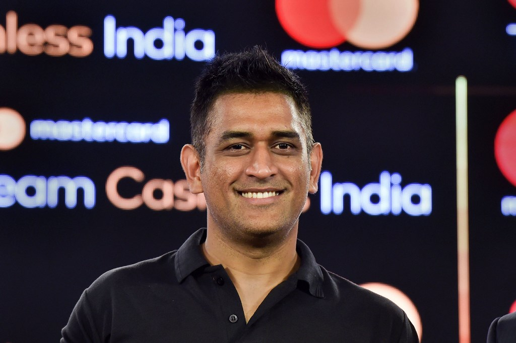 **EDS: RPT, ADDS MASTERCARD WORD** New Delhi: Indian cricketer Mahendra Singh Dhoni during the launch of 'Mastercard Team Cashless India', a nationwide initiative to accelerate and adoption of digital payment, in New Delhi, Wednesday, Oct. 16, 2019. (PTI Photo/Manvender Vashist) (PTI10_16_2019_000034B)