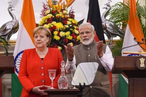 New Delhi:  Prime Minister Narendra Modi and German chancellor Angela Merkel during their joint press conference at Hyderabad House in New Delhi, Friday, Nov. 1, 2019. (PTI Photo/Atul Yadav)  (PTI11_1_2019_000105B)