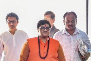 New Delhi: BJP MP Pragya Thakur arrive to attend the BJP parliamentary party meeting at Parliament House, in New Delhi, Tuesday,  Nov. 19, 2019.(PTI Photo/Atul Yadav) (PTI11_19_2019_000064B)