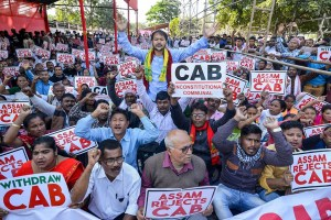 Guwahati: Activists of Krishak Mukti Sangram Samiti (KMSS) adviser Akhil Gogoi and others raise slogans during a protest against the Citizenship Amendment Bill (CAB), in Guwahati, Thursday, Dec. 5, 2019. (PTI Photo)(PTI12_5_2019_000049B)