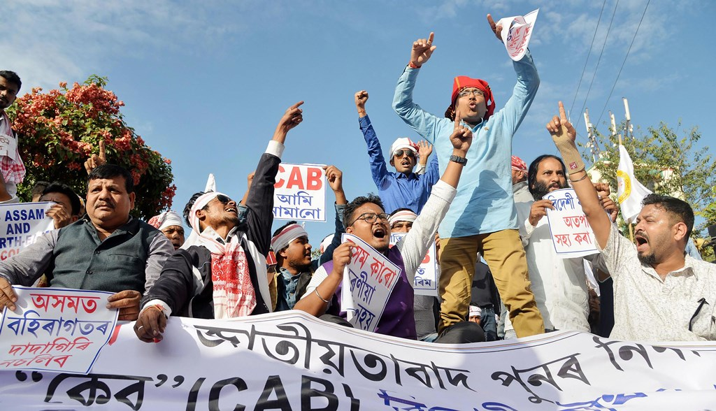 Guwahati: Activists from the Veer Lachit Sena, Assam shout slogans as they protest against Citizenship Amendment Bill, in Guwahati, Saturday, Dec. 7, 2019. (PTI Photo) (PTI12_7_2019_000081B)