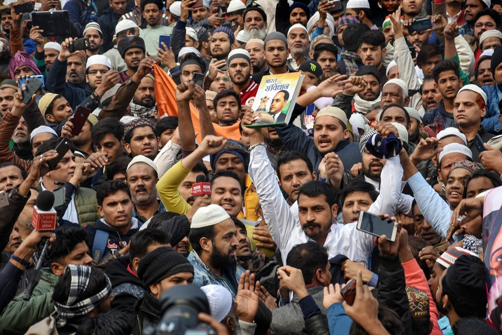 New Delhi: Bhim Army chief Chandrashekhar Azad and others hold a demonstration against the Citizenship Amendment Act (CAA) at Jama Masjid after the Friday prayers, in New Delhi, Dec. 20, 2019. (PTI Photo) (PTI12_20_2019_000083B)