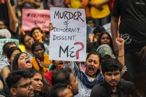 Mumbai: Students hold placards and shout slogans during a protest over the Citizenship Amendment Act, in Mumbai, Monday, Dec. 16, 2019. (PTI Photo)     (PTI12_16_2019_000218B)