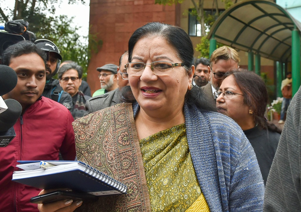 New Delhi: Jamia Millia Islamia Vice-Chancellor Najma Akhtar leaves after addressing a press conference regarding police action against students yesterday at the university campus, in New Delhi, Monday, Dec. 16, 2019. Akhtar asserted that the varsity will not tolerate police presence on campus and demanded a high-level inquiry into the crackdown on university students. (PTI Photo/ Kamal Kishore)(PTI12_16_2019_000076B)