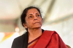 New Delhi: Union Finance Minister Nirmala Sitharaman during National Traders Convention at Ramlila ground in New Delhi, Tuesday, Jan. 7, 2020. (PTI Photo/Shahbaz Khan)(PTI1_7_2020_000113B)