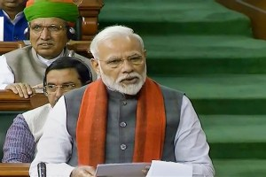 *EDS: TV GRAB** New Delhi: Prime Minister Narendra Modi rises to make a statement in the Lok Sabha, during the ongoing Budget Session of Parliament in New Delhi, Wednesday, Feb. 5, 2020. PM Modi announced the formation of a trust for the construction of a Ram Temple in Ayodhya as directed by the Supreme Court in its verdict in the Ram Janmabhoomi-Babri Masjid case in November last year. (LSTV/PTI Photo) (PTI2 5 2020 000026B)