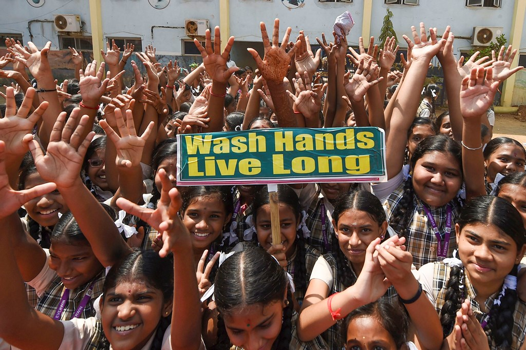 Chennai: School students participate in an awareness program on precautionary measures that can be taken to fight coronavirus, in Chennai, Saturday, March 14, 2020. (PTI Photo)(PTI14-03-2020_000074B)