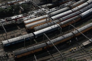 Trains are seen parked at a railway station during a 14-hour long curfew to limit the spreading of coronavirus disease (COVID-19) in the country, in Mumbai, India, March 22, 2020. REUTERS/Francis Mascarenhas