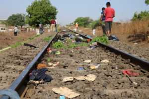 The belongings of victims lie scattered on the railway track after a train ran over migrant workers sleeping on the track in Aurangabad district in the western state of Maharashtra, India, May 8, 2020. REUTERS/Stringer NO ARCHIVES. NO RESALES.