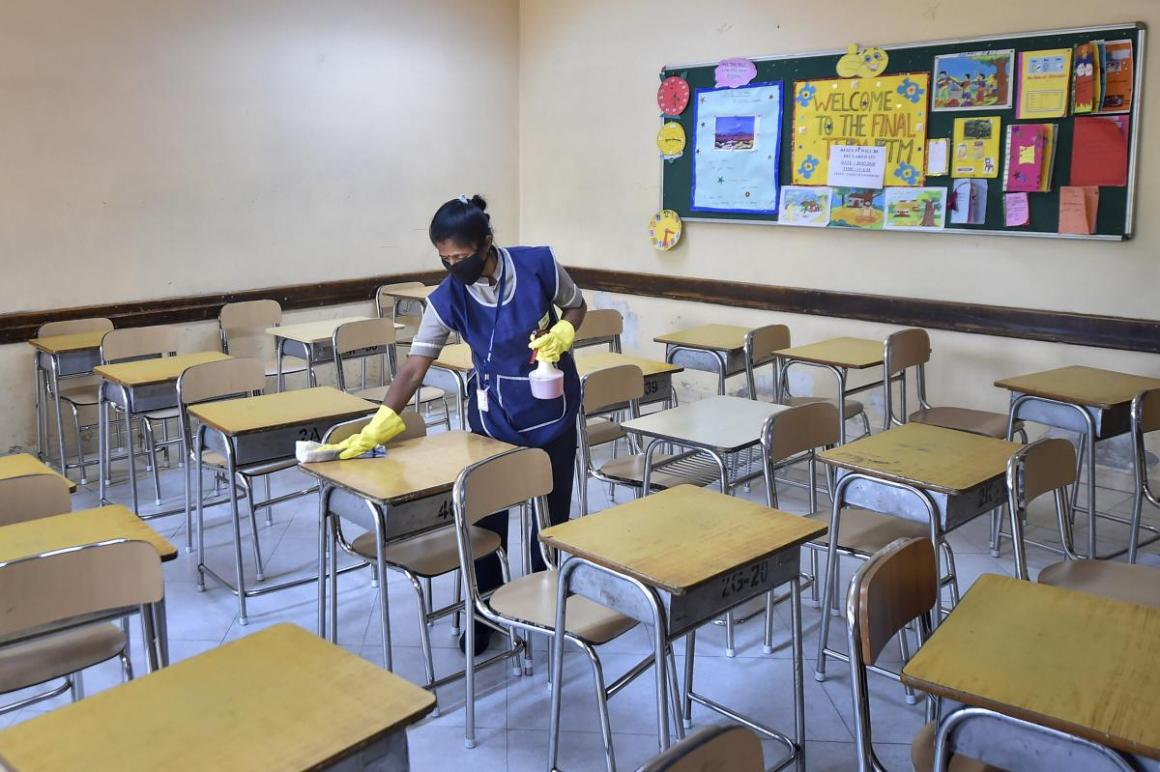 A classroom being disinfected in Kolkata. PTI