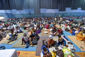 New Delhi: Migrants take rest at Yamuna Sports Complex, which is converted into a shelter home for people stranded in the National Capital due to lockdown, in New Delhi, Friday, May 29, 2020. (PTI Photo/Manvender Vashist)(PTI29-05-2020_000177B)