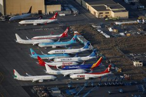 An aerial photo shows Boeing 737 MAX aircraft at Boeing facilities at the Grant County International Airport in Moses Lake, Washington, September 16, 2019. REUTERS/Lindsey Wasson