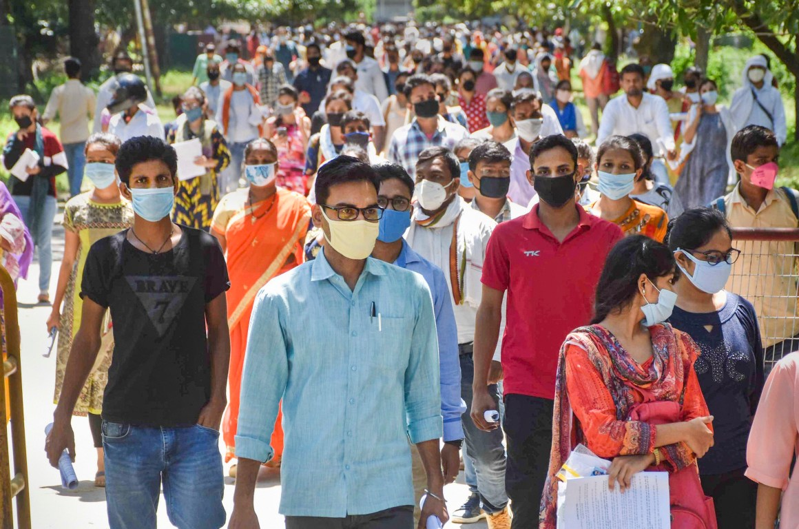 Varanasi: Students come out after appearing in the B.Ed entrance exam, at Banaras Hindu University in Varanasi, Sunday, Aug 30, 2020. (PTI Photo)(PTI30-08-2020_000045B)
