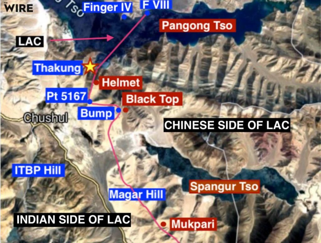 Thakung, marked with a star, is the site of the latest standoff between Indian and Chinese soldiers along the Line of Actual Control near Pangong Tso in Ladakh. Points in blue are on the Indian side of the LAC, points in red on the Chinese side. Map: Adapted from an official Indian map by The Wire/Google Maps