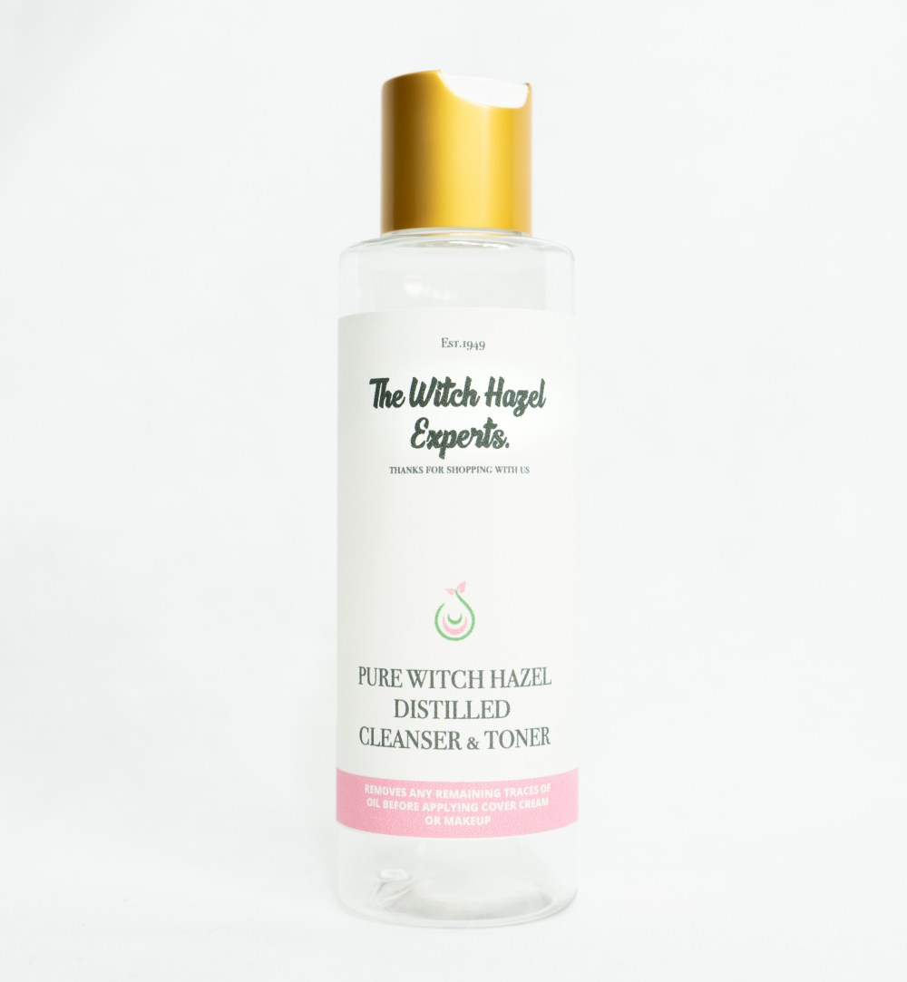 clear 150ml bottle white and pink label