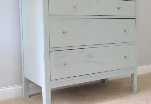Aegean dresser with clear lucite and brass knobs