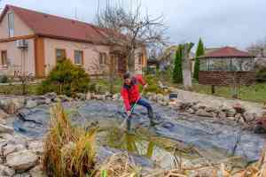 Man cleaning backyard garden pond with a net