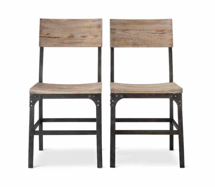 Picture of weathered wood and metal dining chairs