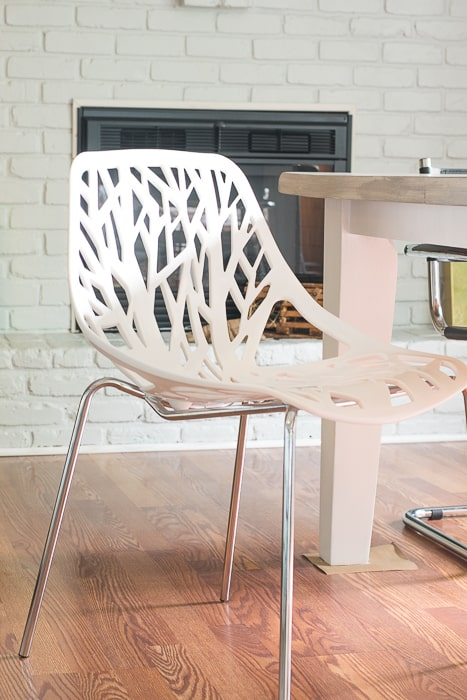 dining room chair white plastic and chrome tree design