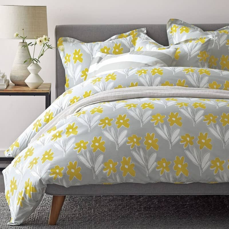 picture of gray duvet cover with yellow flowers