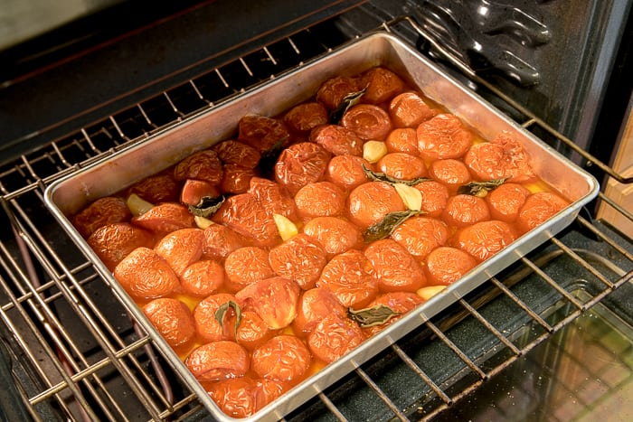 Picture of cooked tomatoes on sheet pan