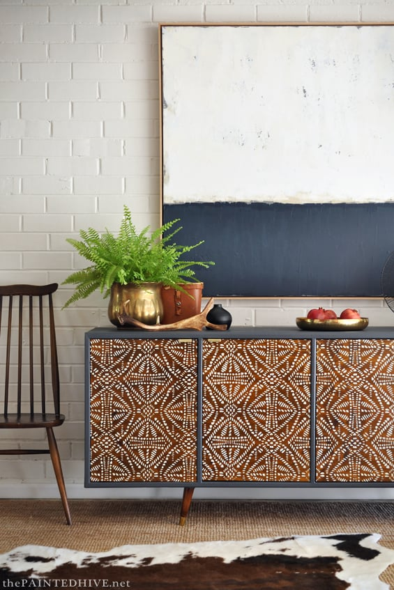 picture of a mid century style stenciled sideboard