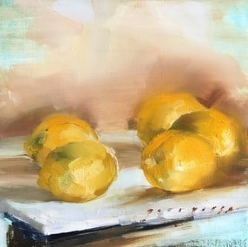 painting of lemons on a table