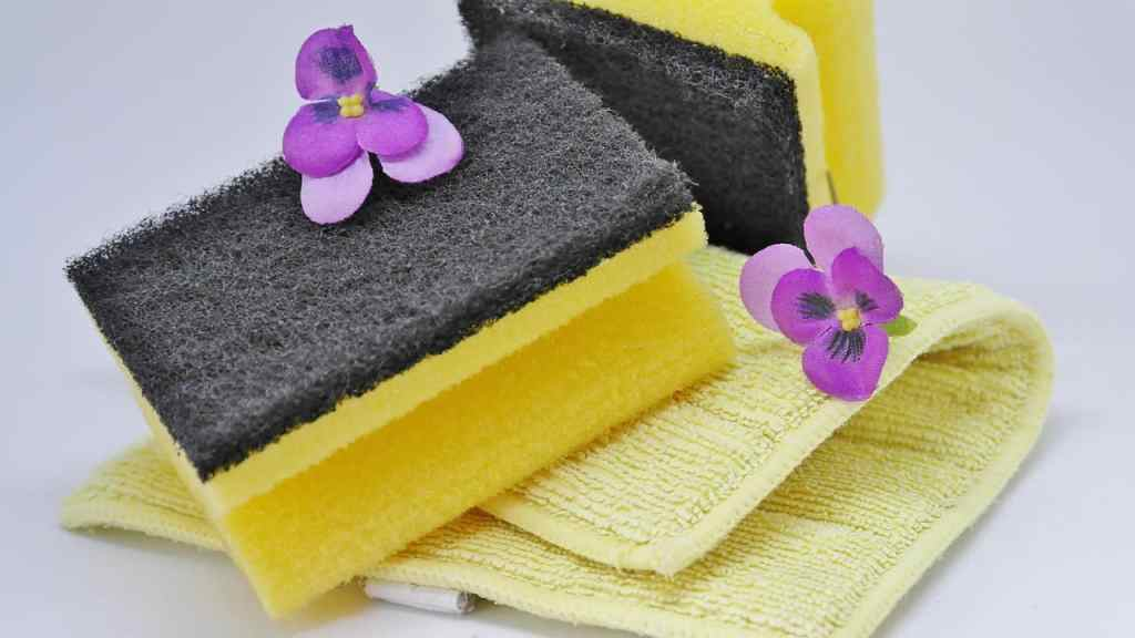 sponges and rags for cleaning