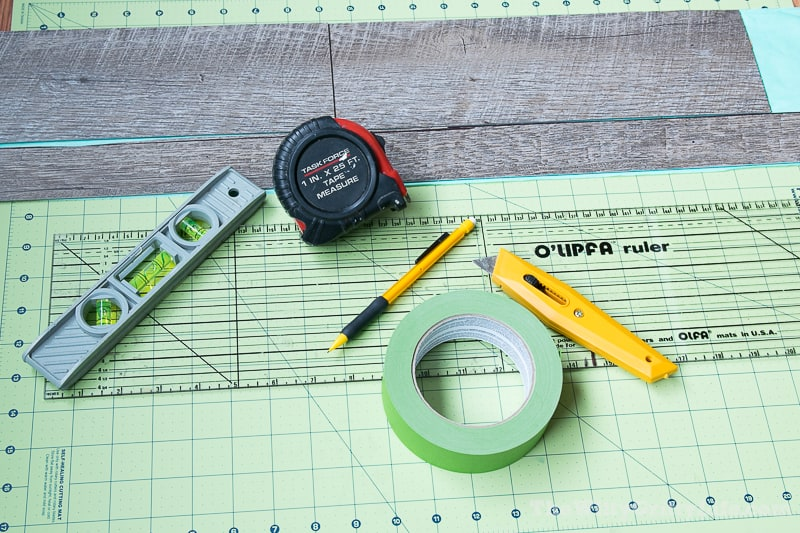 tools needed to install a simple diy vinyl planked wall treatment