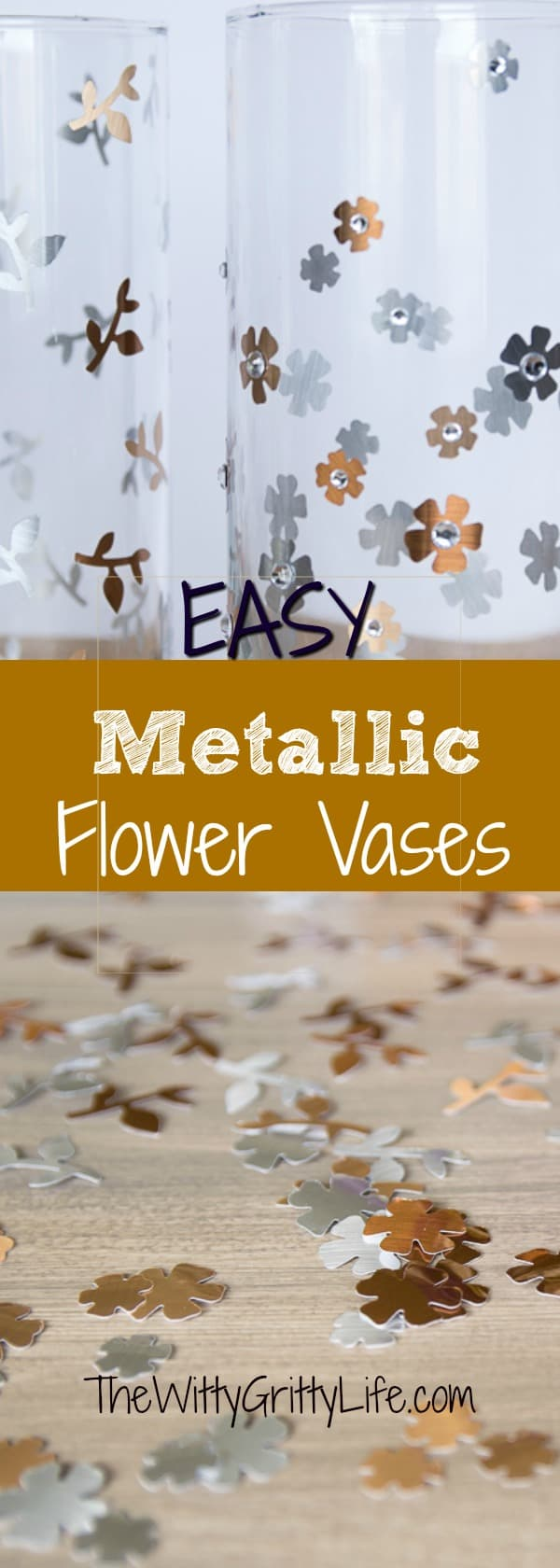 Learn how to create these fun mixed metal flower vases from simple, inexpensive glass cylinders! They are so fun and easy to make , you' won't have to settle for boring vases anymore. The best part? They make awesome candle holders too!