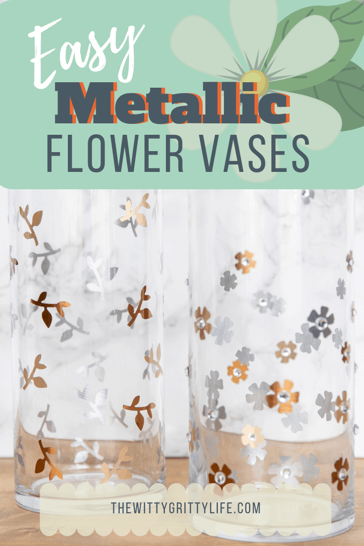 Embellish simple glass vases with this quick and easy DIY project. Turn a plain item from boring to wow. Metallics are a classic trend that is here to stay!