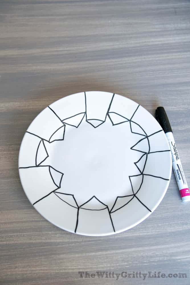 Roof lines drawn on white plate with black sharpie