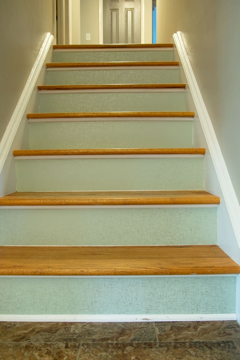 How To Apply Temporary Wall Paper To Stair Risers   Stained Stairs And Risers   Two Tone   Natural   Bead Board   Gray Painted   Finished
