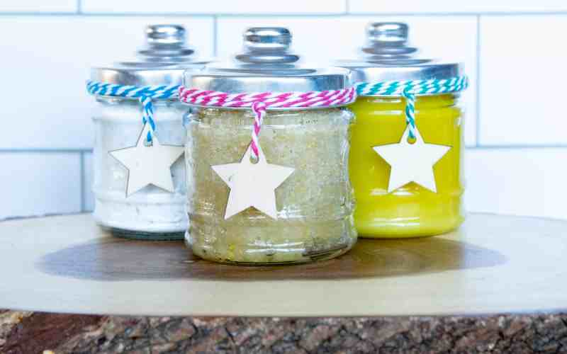 3 cheap and easy luxurious gifts, relaxing bath salts, softening sugar scrub and moisturizing body balm