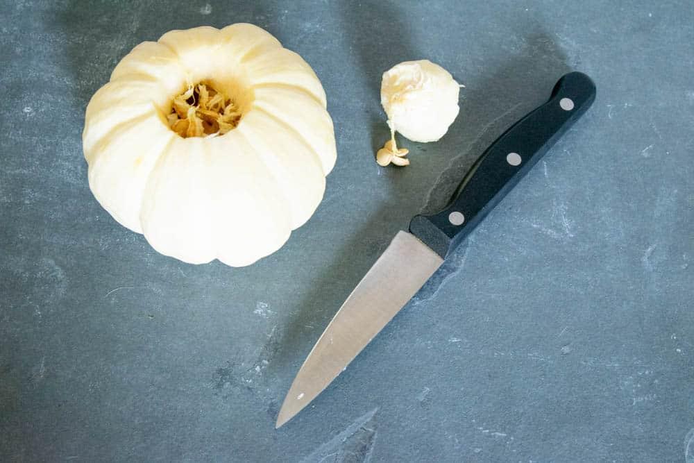 little white pumpkin with top cut off for diy fall pumpkin decor