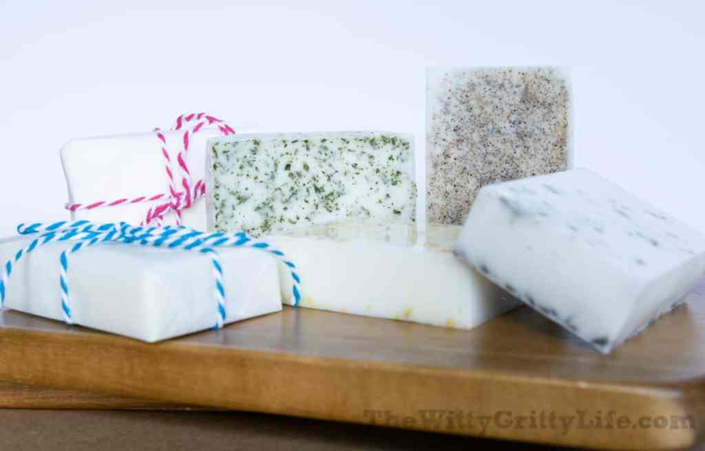 finished homemade soap, different varieties