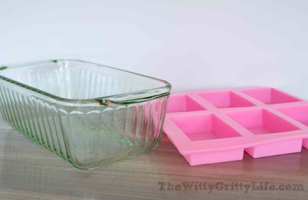 glass loaf pan and silicone mold used for homemade soap
