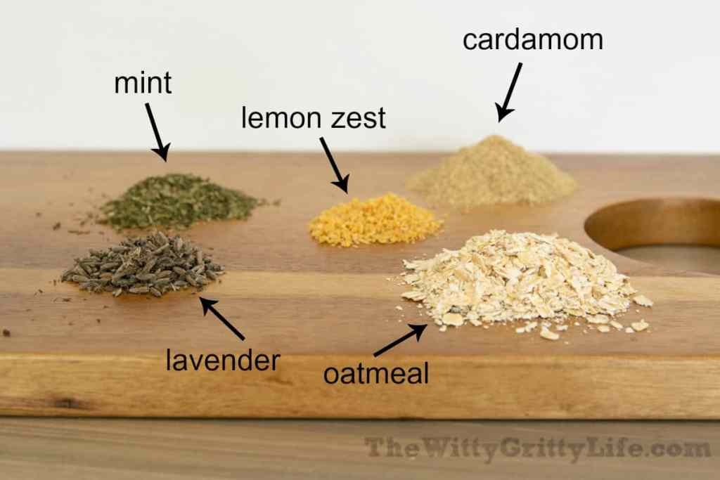 various dried herbs and add-ins for making homemade soap