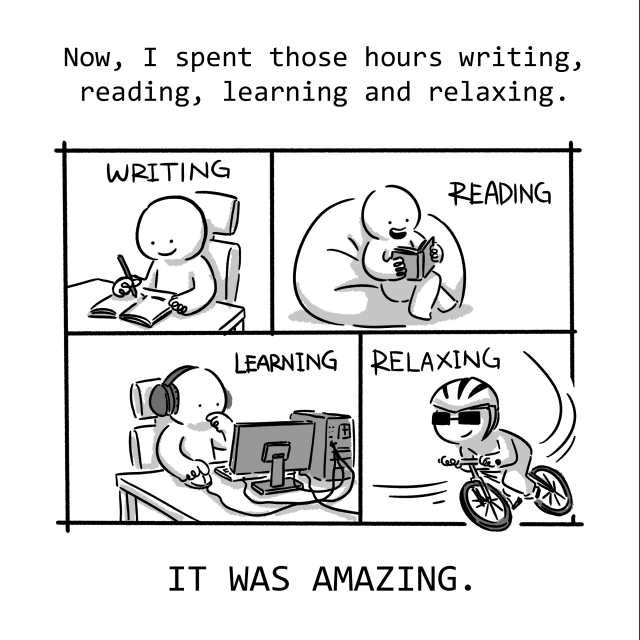 I spent those hours writing, reading, learning and relaxing. It was AMAZING.