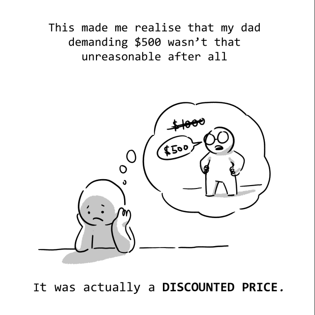 This made me realise that my dad demanding $500 wasn't that unreasonable after all. It was actually a DISCOUNT.