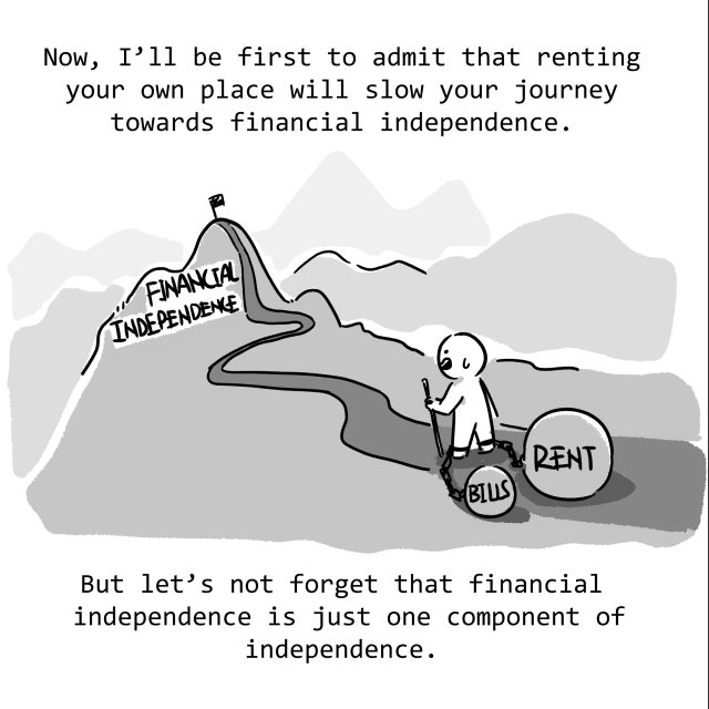 I'll be the first to admit that renting your own place will slow your journey towards financial independence. But let's not forget that financial independence is just one component of true independence.